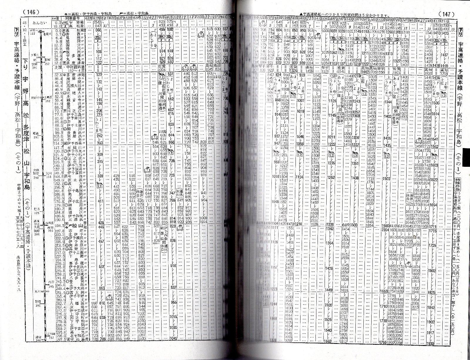 昭和43年10月の、改正後のダイヤ
