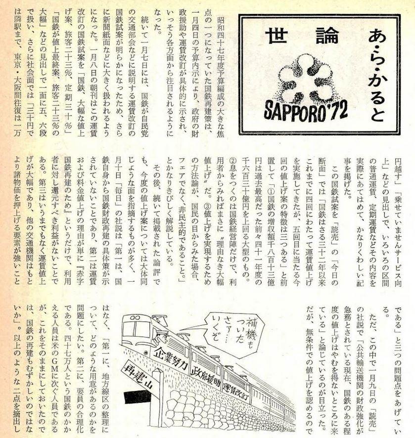 世論1972 国鉄線 197202