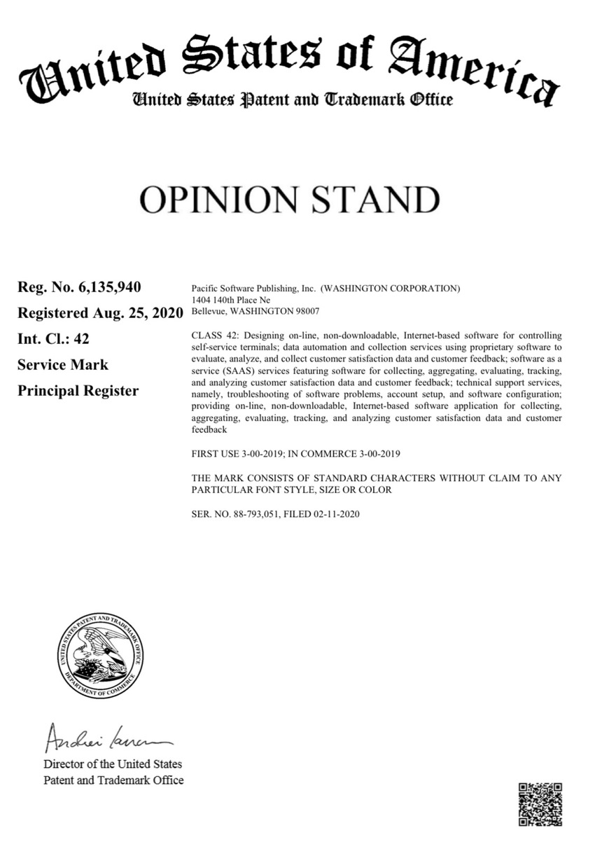 Opinion Stand Name Trademark
